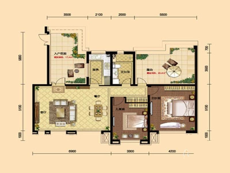 九洲御府411户型图洋房-012室2厅1卫1厨 109.00㎡