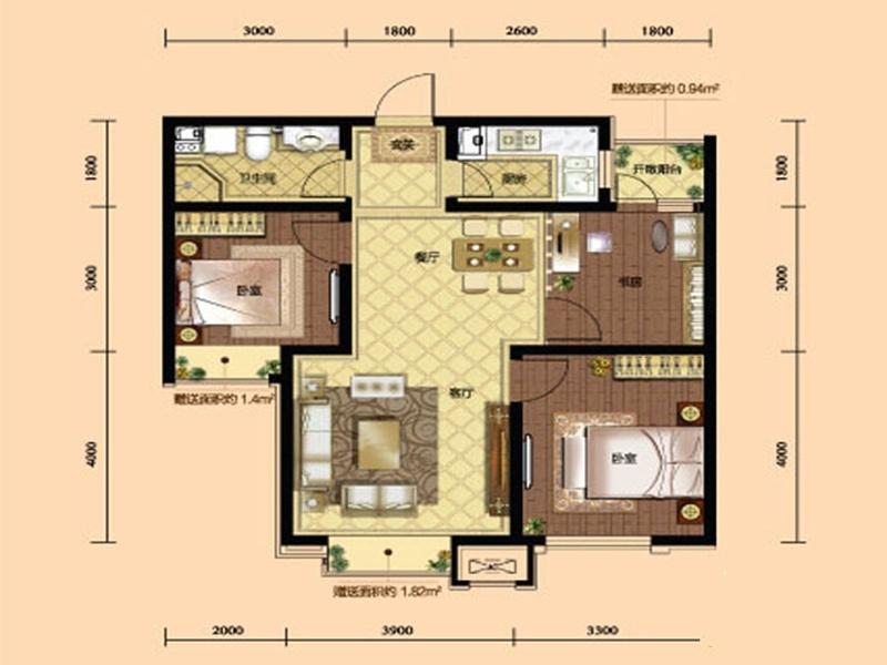 九洲御府411户型图高层-013室2厅1卫1厨 94.00㎡