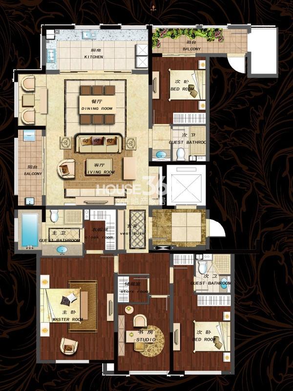 190平(A) 四房两厅三卫