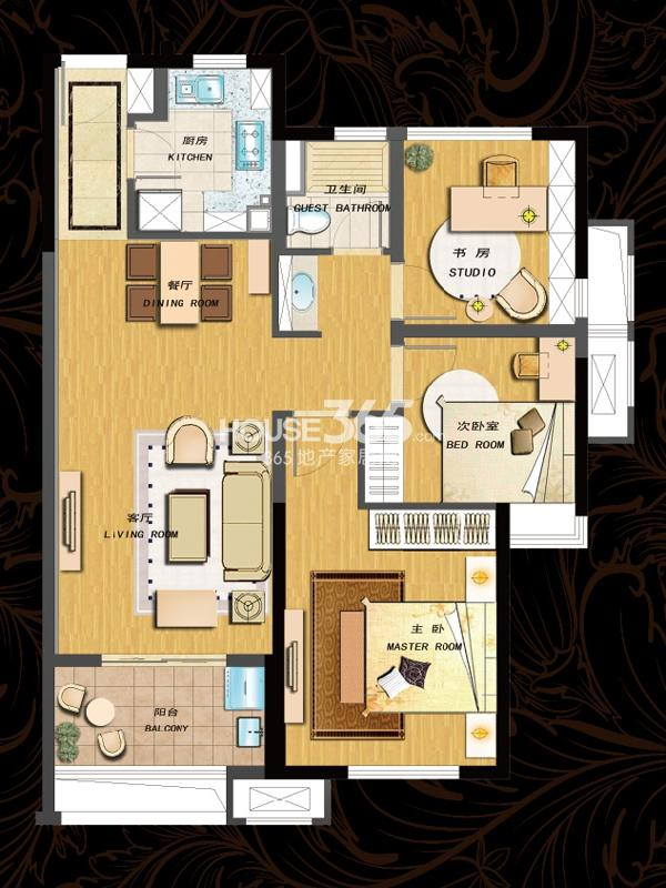 90平  三房两厅一卫