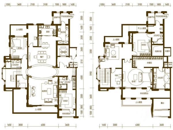万科柏翠园户型图H户型 5室2厅