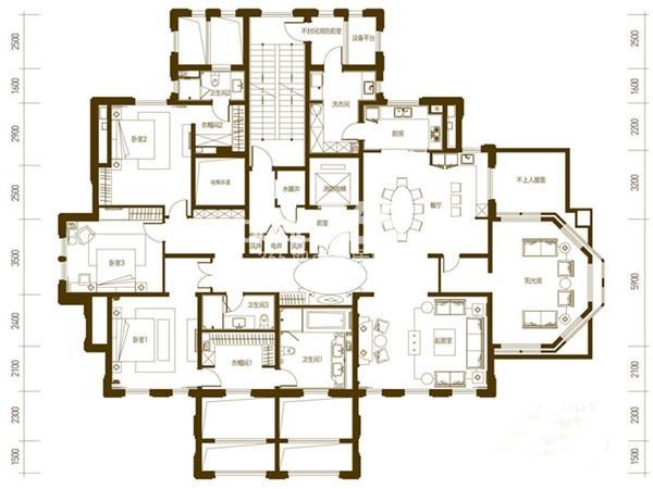 万科柏翠园户型图I户型 4室2厅