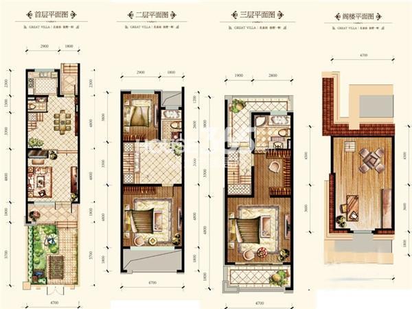 绿地国际花都户型图别墅B户型 190平米