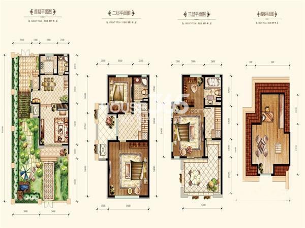 绿地国际花都户型图别墅A户型 165平米