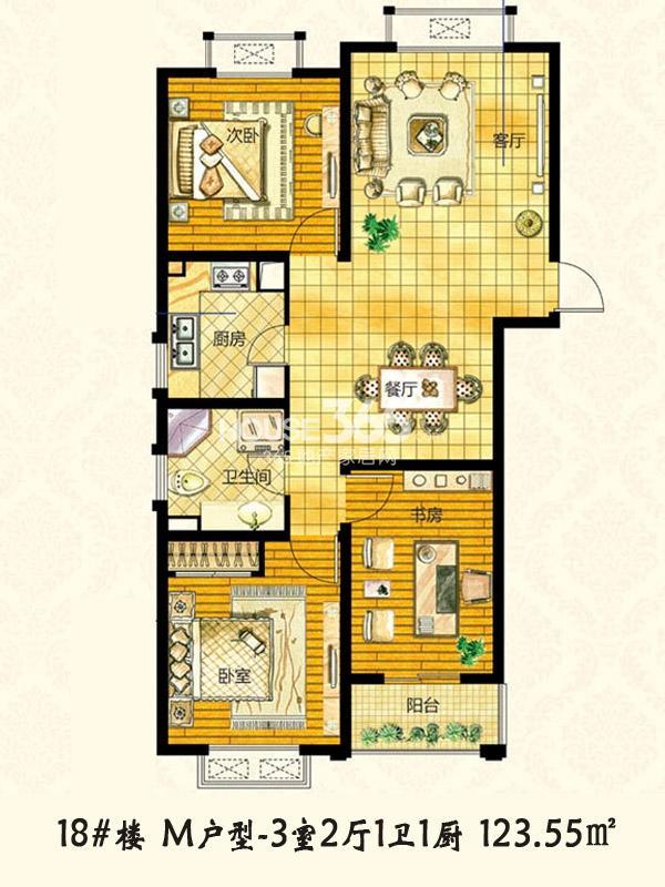 【枫林湾】18#楼M户型3室2厅1卫1厨-123.55㎡