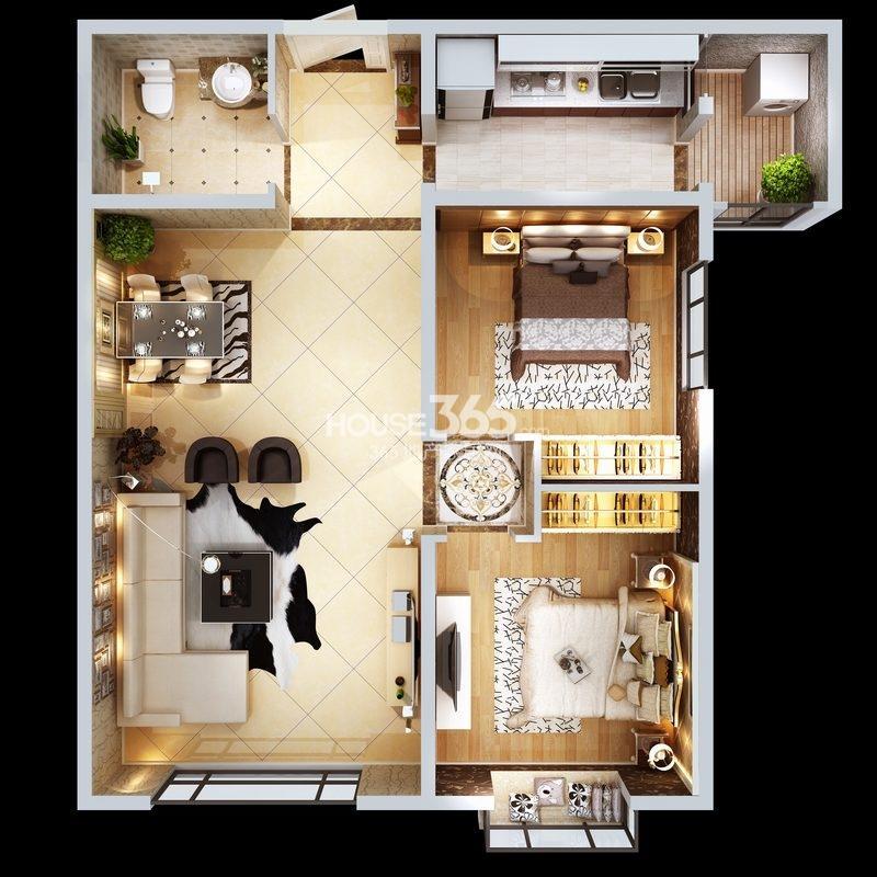 朱雀云天3#楼D户型 两室两厅一厨一卫 约84.96㎡