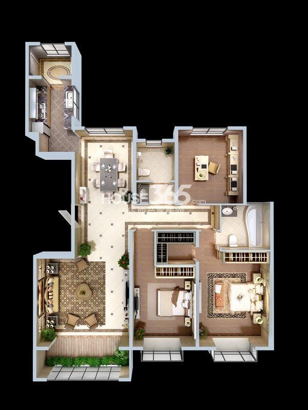 朱雀云天3#楼B户型 三室两厅一厨两卫 约156.02㎡