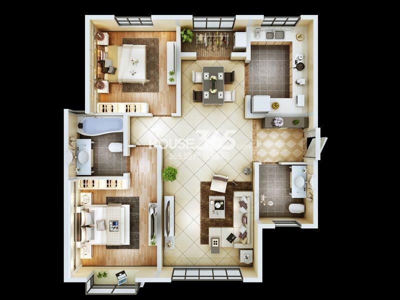 朱雀云天3#楼A户型 两室两厅一厨两卫 约181.39㎡