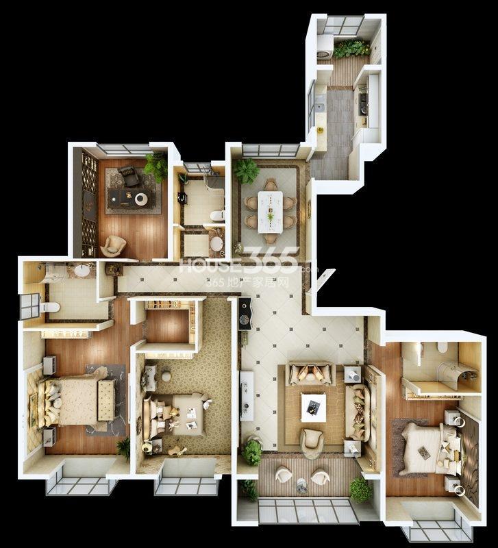 朱雀云天3#楼A户型四室两厅一厨三卫 约181.39㎡