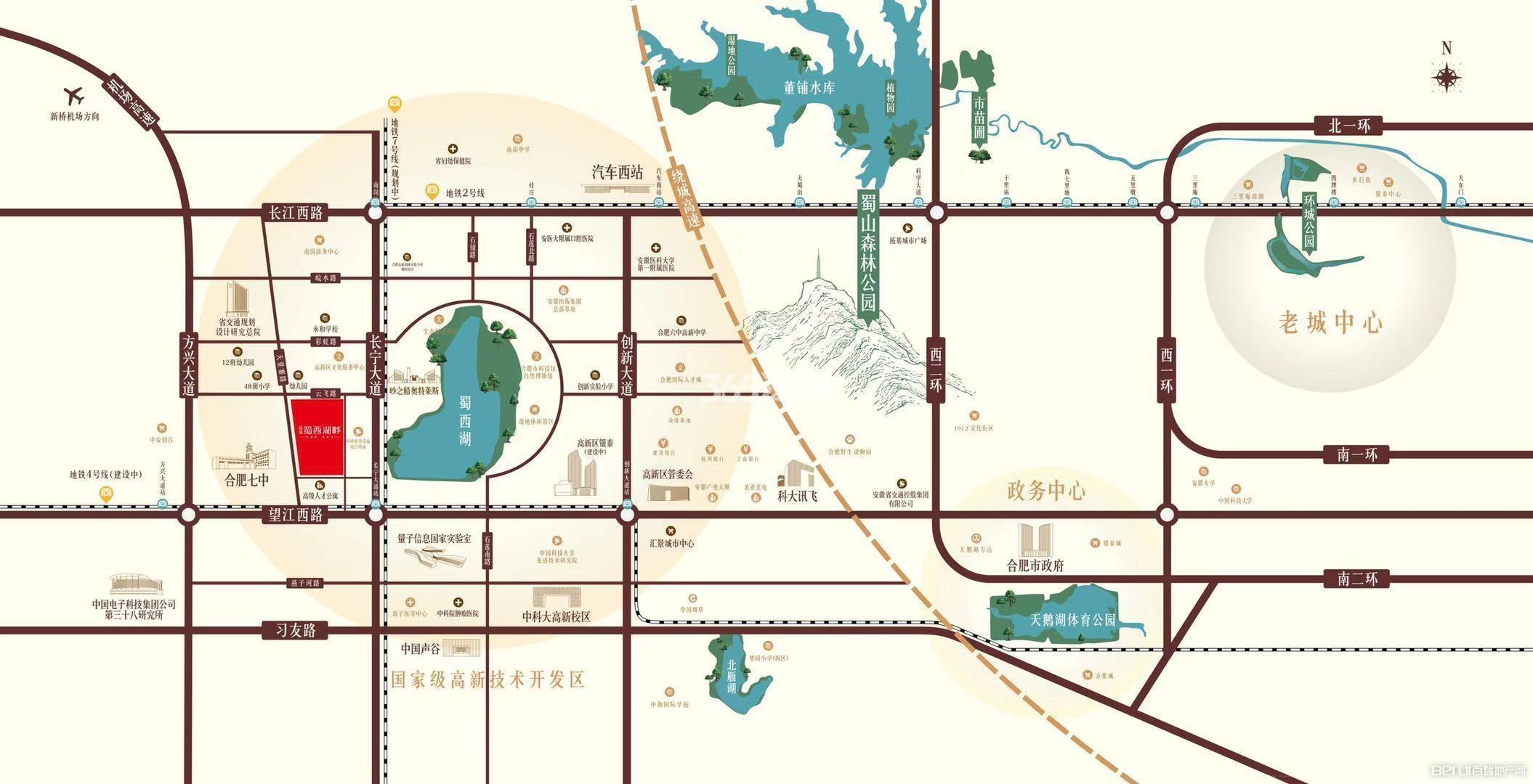 高速蜀西湖畔交通图