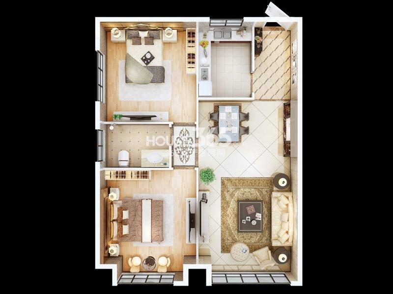 朱雀云天公寓A户型 两室两厅一厨一卫 约86.60㎡