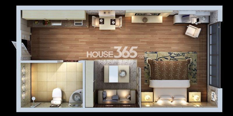 朱雀云天公寓E户型 一室一厅一厨一卫 约41.27㎡