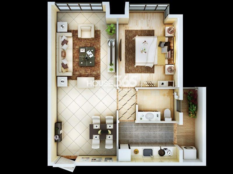 朱雀云天公寓B户型 一室两厅一厨一卫 约79.22㎡