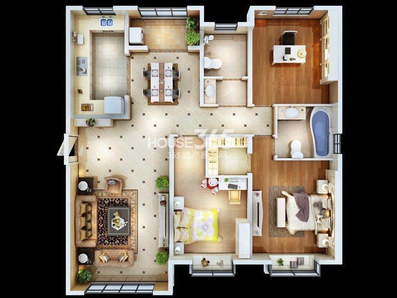 朱雀云天5#楼A1户型 三室两厅两卫 约148.69㎡