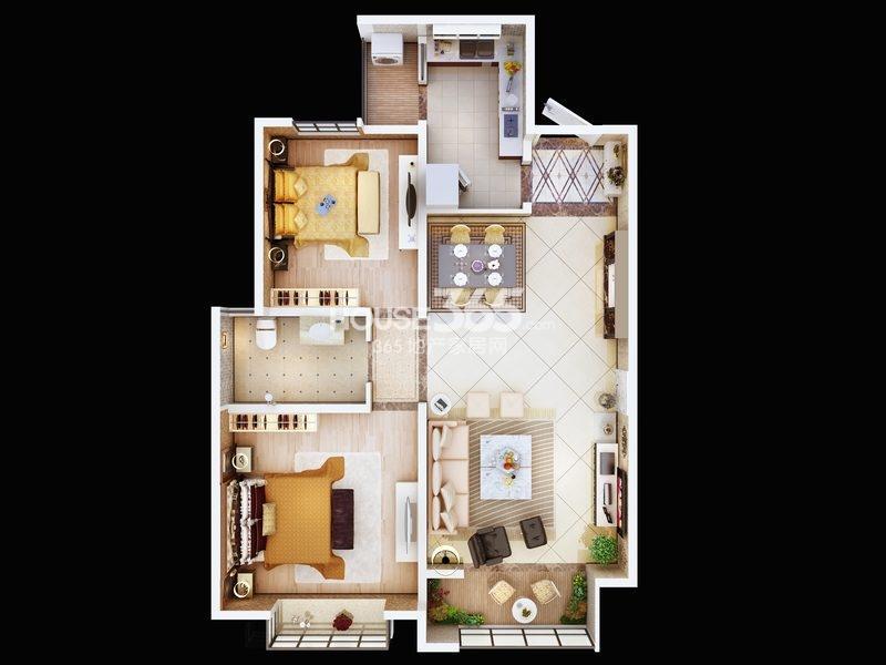 朱雀云天5#楼B户型 两室两厅一厨一卫 约103.16㎡