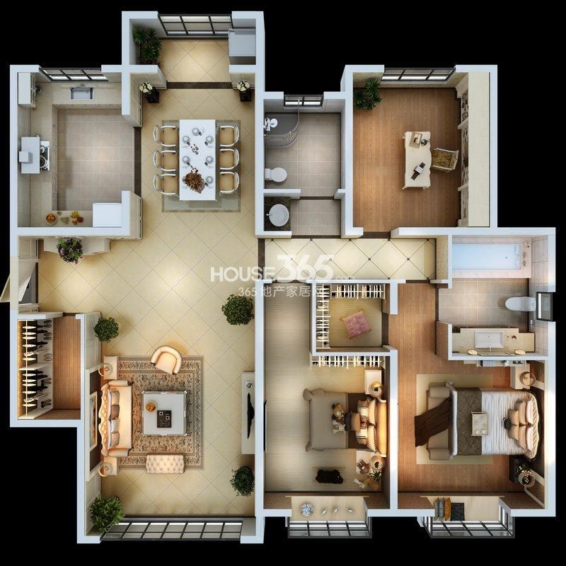 朱雀云天3#楼E户型 三室两厅一厨两卫  约145.03㎡