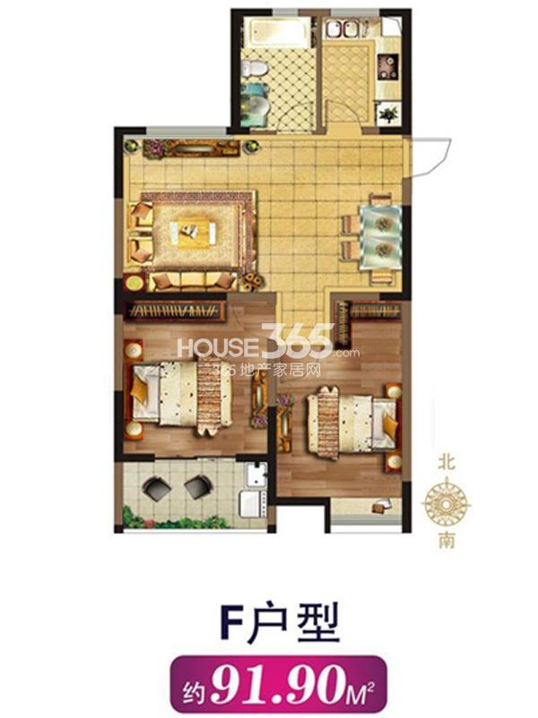 F户型-两室两厅一卫 约91.9平