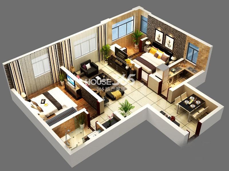 智慧新城一期04户型2室2厅1卫1厨 84.65㎡