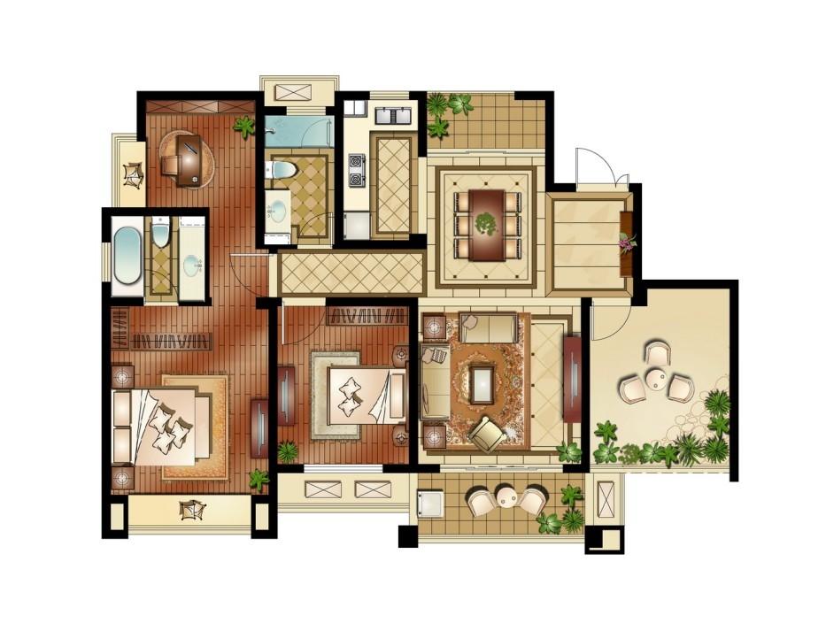 运河公馆高层标准层E户型4室2厅2卫1厨 137.00㎡