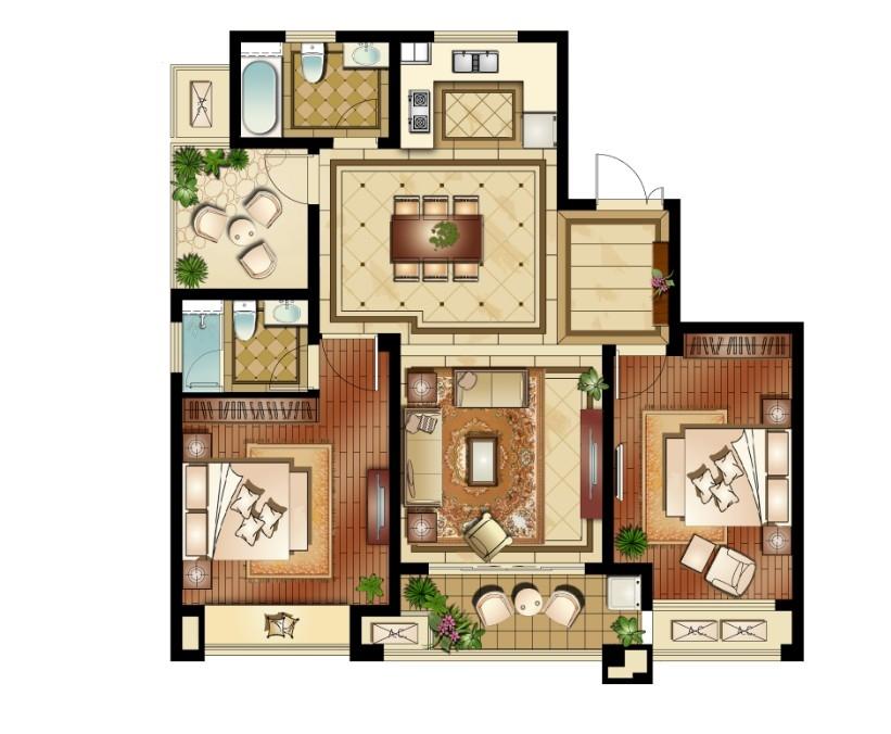 运河公馆高层标准层C1户型3室2厅2卫1厨 117.00㎡