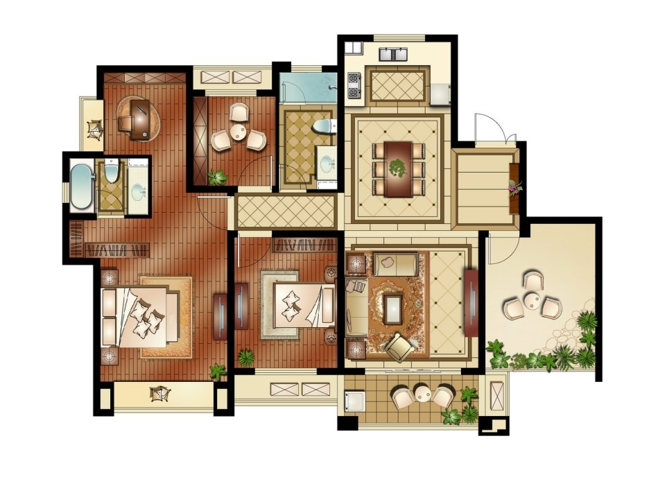 运河公馆高层标准层F户型3室2厅2卫1厨 152.00㎡