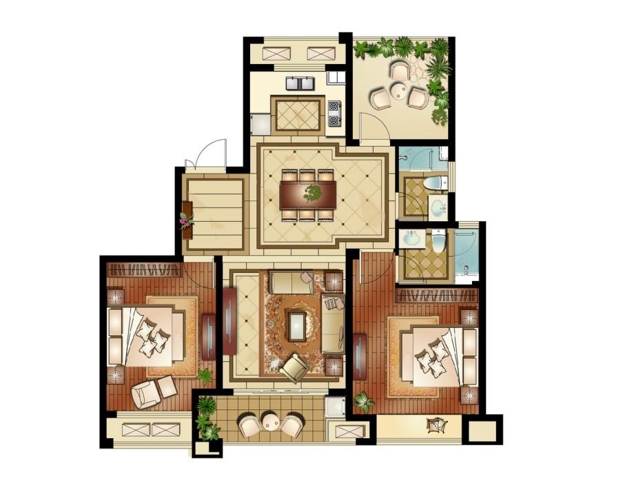 运河公馆高层标准层C2户型3室2厅2卫1厨 120.00㎡