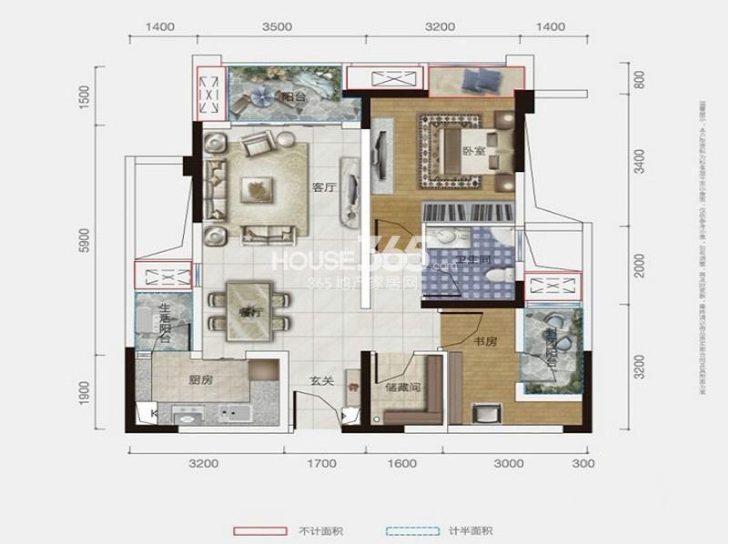 保利爱尚里一期8号楼标准层F1户型2室2厅1卫1厨 64.00㎡