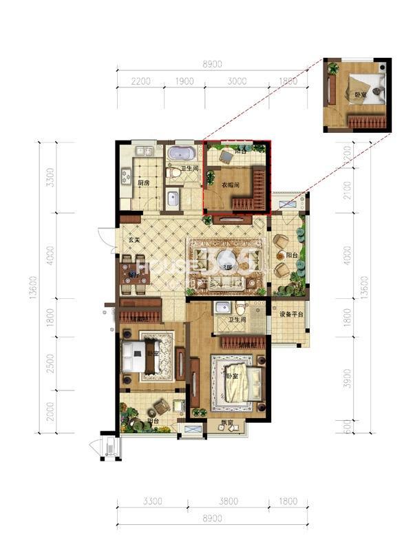 弘阳广场户型图-3房2厅2卫-122平