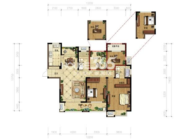 弘阳广场户型图-4房2厅2卫-135平