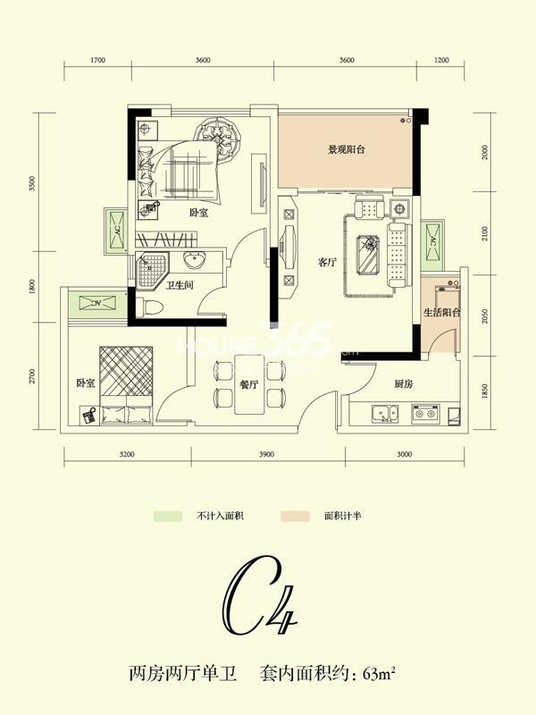 融创凡尔赛花园一期C4号标准层 49.52平米户型 1室2厅1卫1厨 49.52㎡