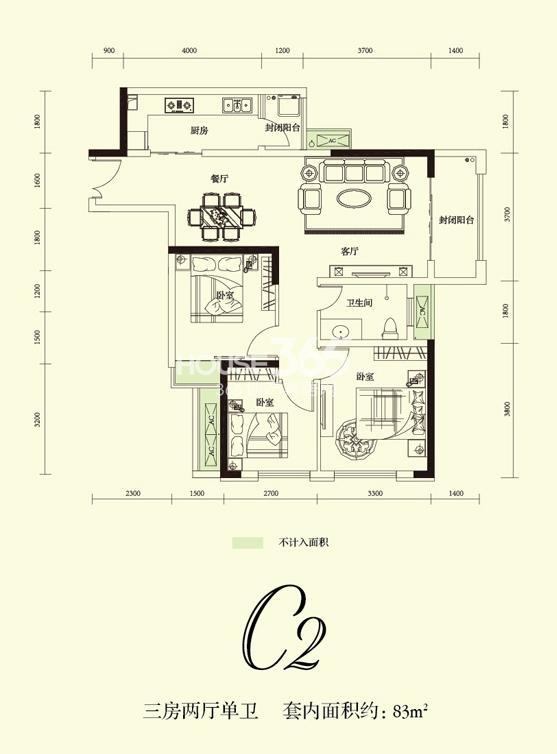 融创凡尔赛花园一期C2号标准层 81.94平米户型 2室2厅1卫1厨 81.94㎡