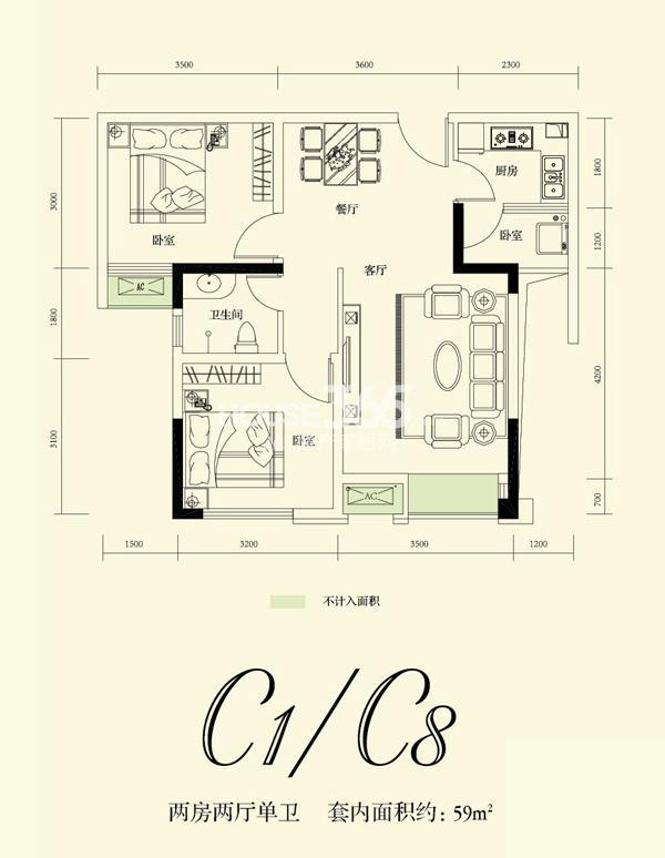 融创凡尔赛花园一期C1 C8号标准层 59.42平米户型 2室2厅1卫1厨 59.42㎡