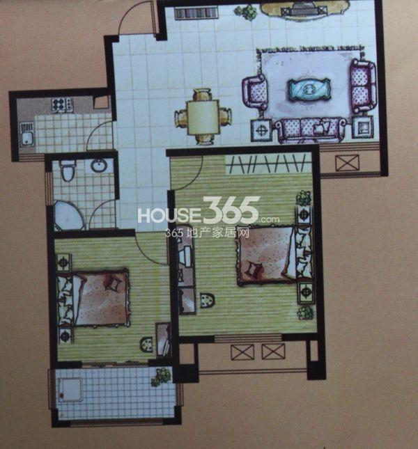和谐家园户型图 二期G4户型 两室两厅一卫 建筑面积约89.61