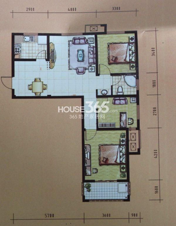 和谐家园户型图 二期G3户型 三室两厅两卫 建筑面积约102