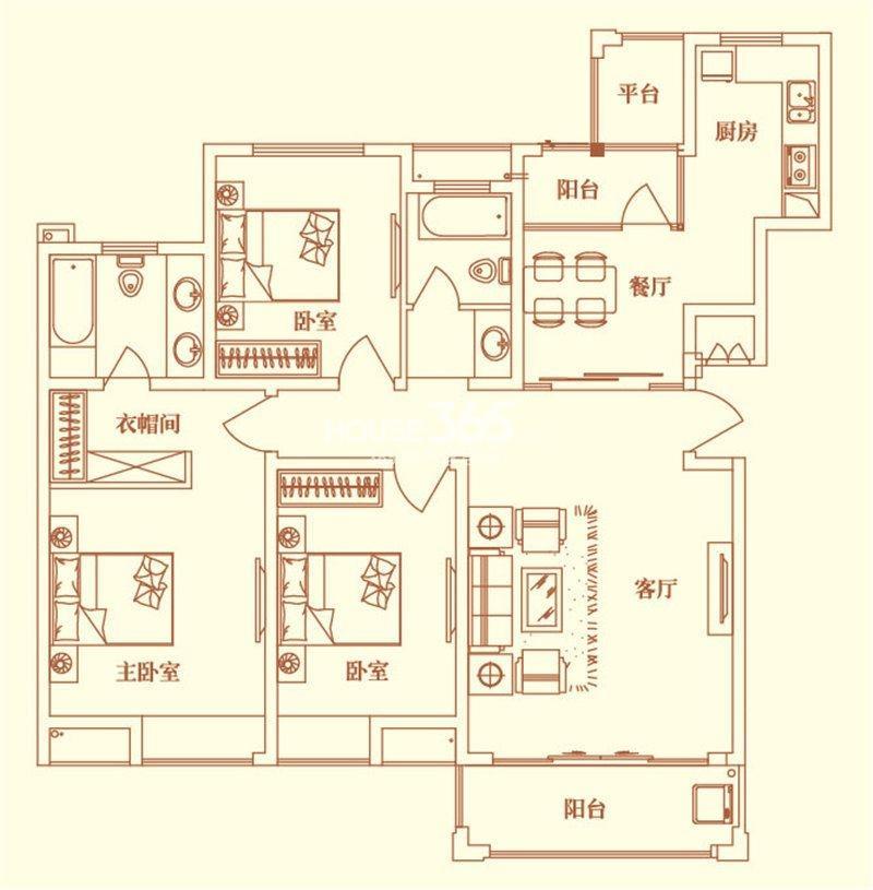 绿岛华府三室两厅两卫平面图