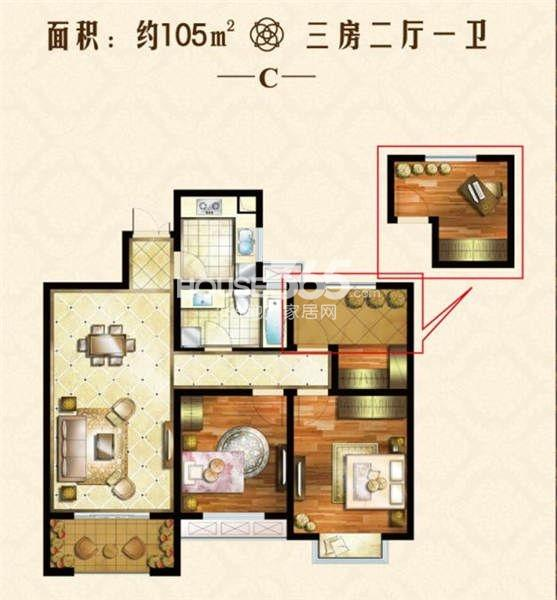 户型图 105三居室户型 106