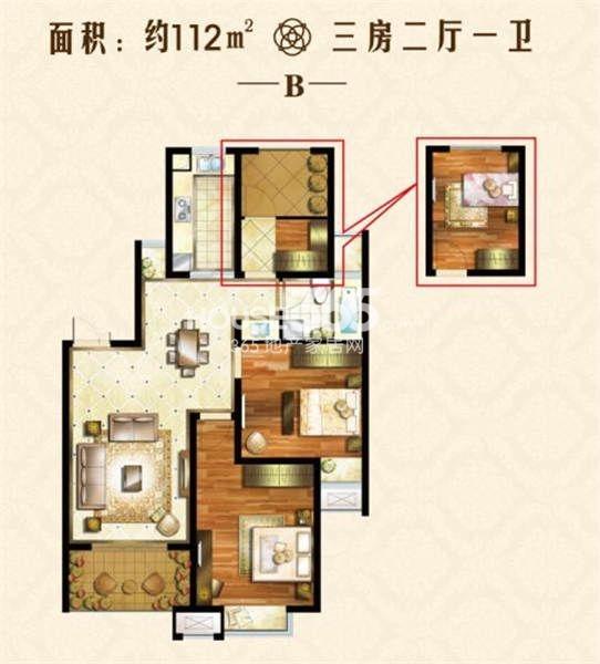 户型图 112三居室户型 112