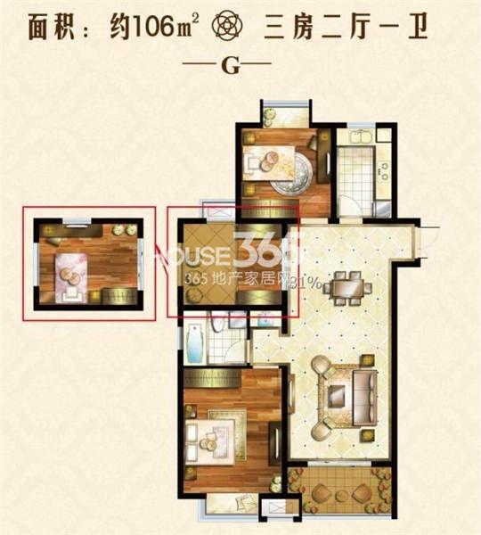 户型图 106三居户型 106