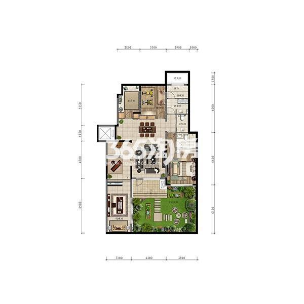 (1T2)148平四室小洋房边户首层地下一层(全赠送)