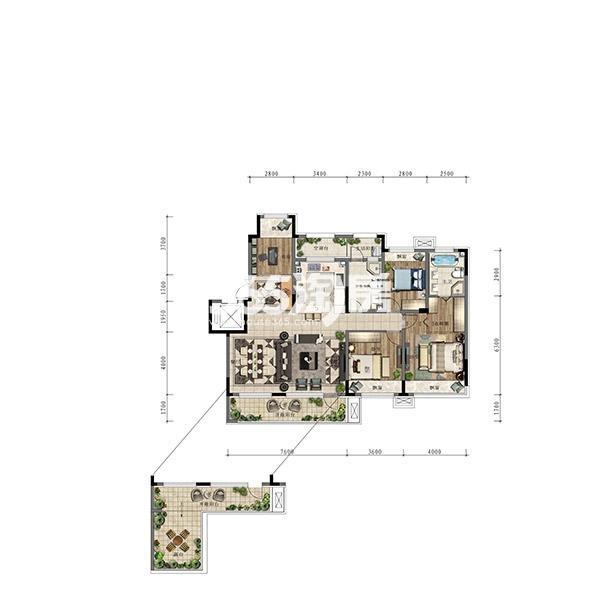 (1T2)154平四室大洋房边户标准层