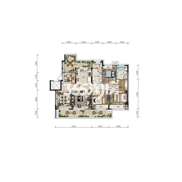 (1T2)141平三室大洋房边户顶层
