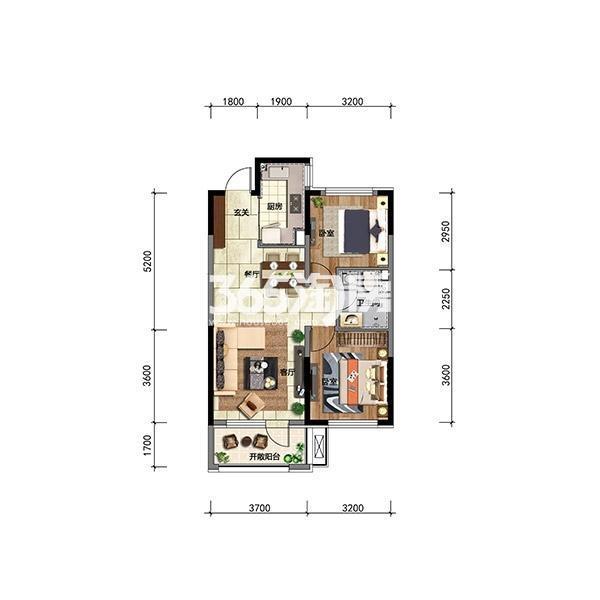 华润翡翠城高层80平两房户型