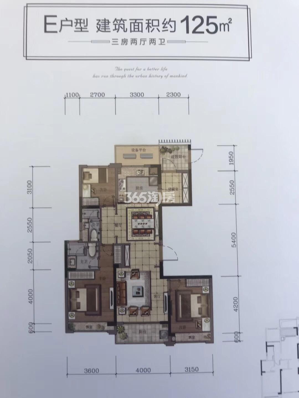 汇高栢悦中心项目9号楼E户型125方户型图