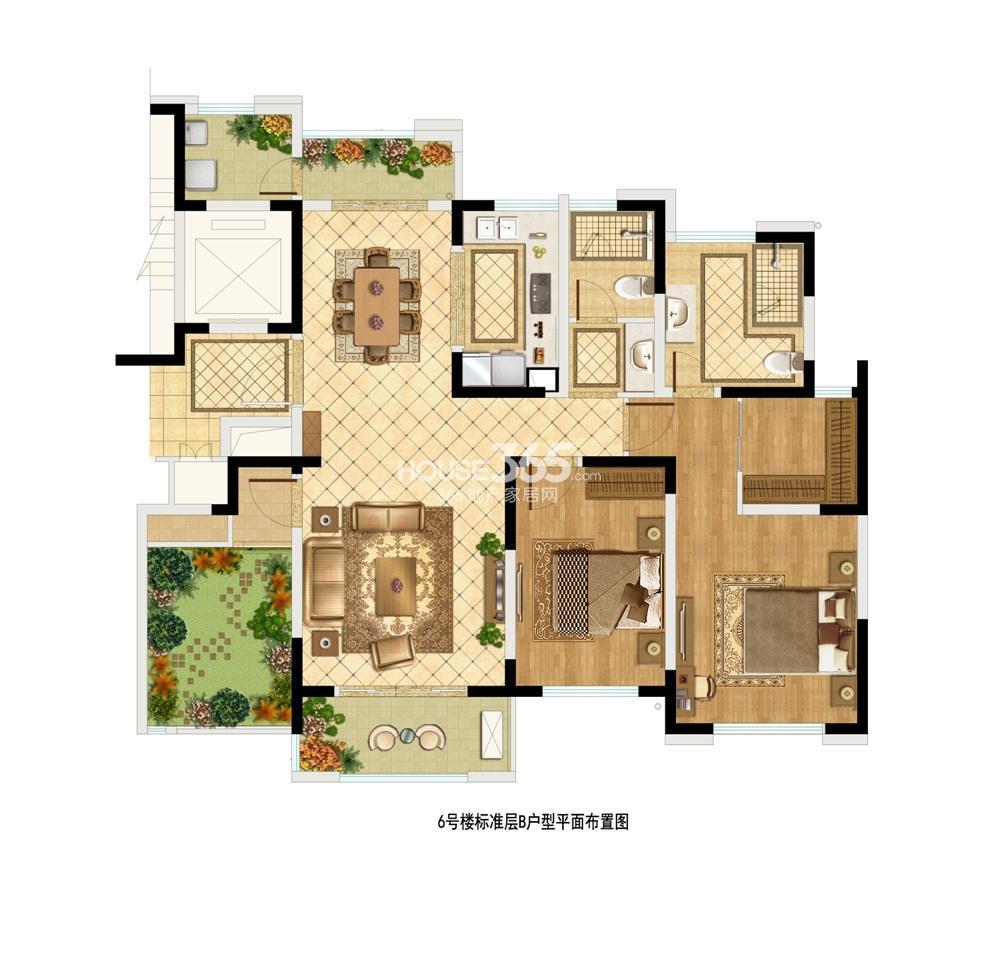 中茵星墅湾6#楼标准层B户型 135平 3室2厅2卫