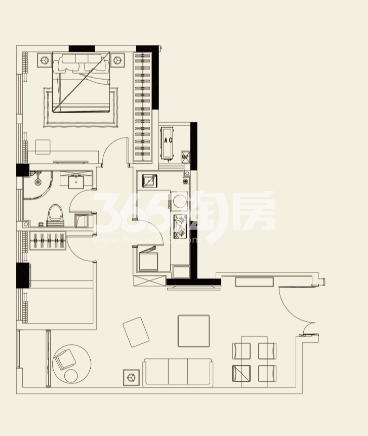 紫鑫中华广场三期92㎡户型图