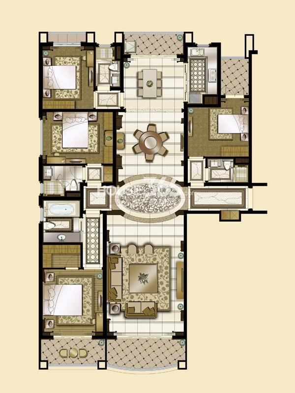 雅居乐星河湾T1-270平米户型图