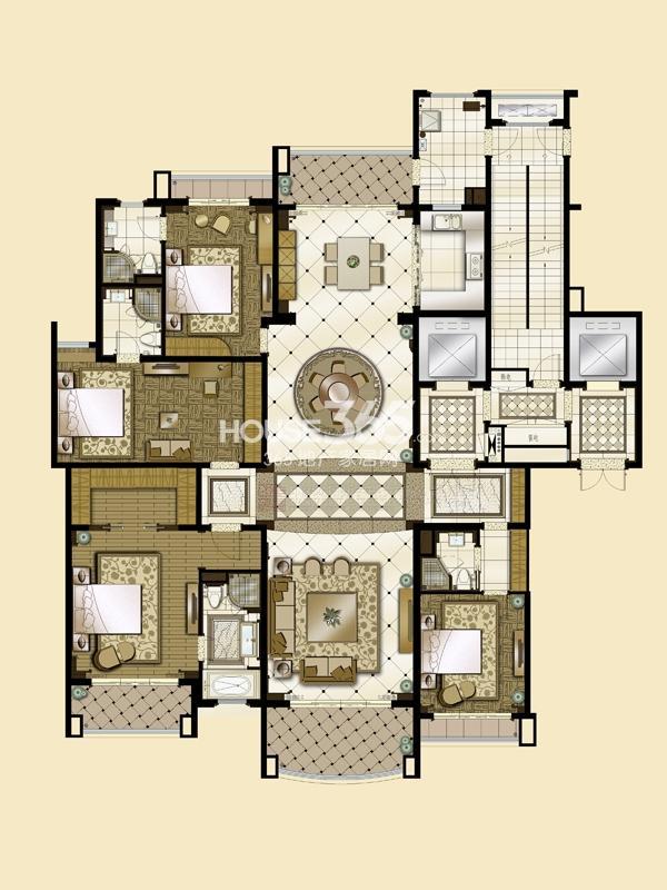 雅居乐星河湾B1a-306平米户型图