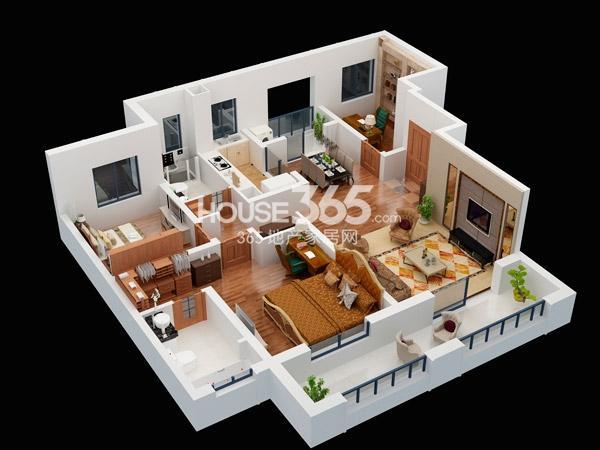 朗诗競园3#B2户型-3室2厅2卫-135平