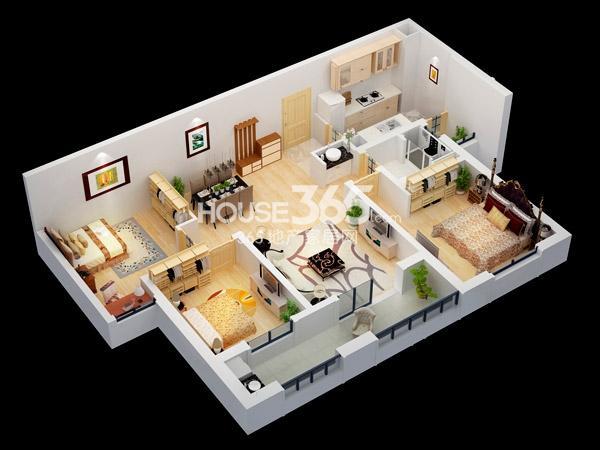 朗诗競园3#B3户型-3室2厅1卫-110平