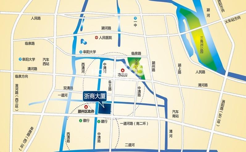 阜阳浙商大厦交通图